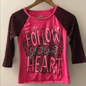 Girls 3/4 pink and black shirt